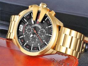 Relógio Skone Dourado Aço Inox Invicta Diesel Casio Barato