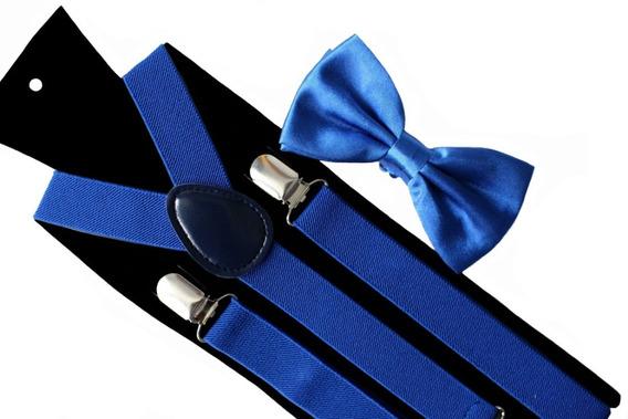 Set Suspensores + Humita (corbatin) Color Azul Para Adultos