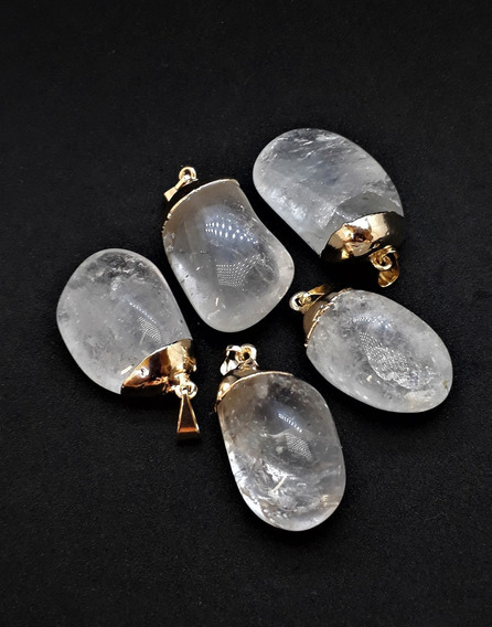 Pingente Quartzo Cristal Pedra Natural Cordão De Couro