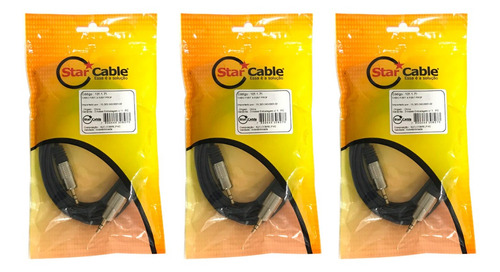 Kit 3 Cabo De Audio Starcable P2 X P12 Stereo 2 Metros