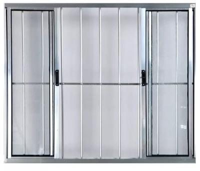 Ventana De Aluminio Con Regillas Y Vidrio, Color Plomo.