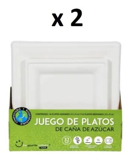 Platos Desechables Biodegradables Caña Azúcar Total 64 Pzs