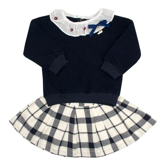 Conjunto Bebê Saia E Suéter - Azul Marinho E Marfim