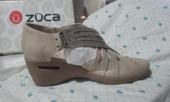 Zapatos Zuca Color Natural Platino Talle 38