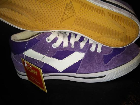 Zapatillas Pony Violetas N°42 Cuero Vacuno