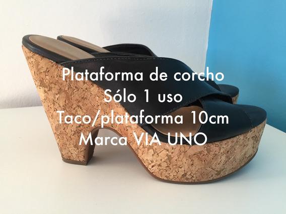 Plataformas Corcho Y Negro Numero 37/8 Via Uno Oferta!