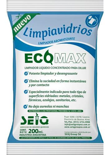 Limpiavidrios Concentrado X 200ml Rinde X5 X4 Sobres Ecomax