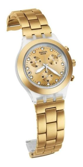 Relogio Swatch Dourado Feminino Full Blooded Svck4032g Swiss