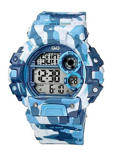 Reloj Digital Q&q Digital By Citizen Camuflado Azul Shock Resistant Sumergible 100m Crono Calendario Original Agente Of