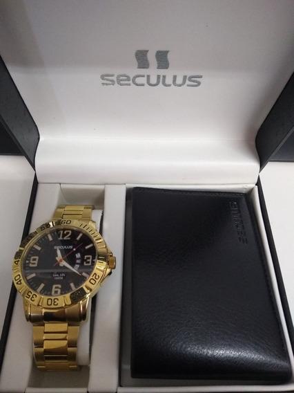 Kit Relógio Seculus Masculino 23511gpsvda1 Carteira Original