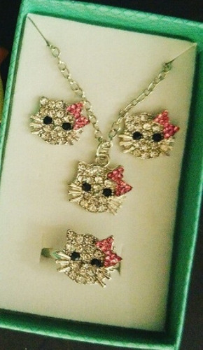 Set Juego Hello Kitty Full Brillos Collar + Aretes + Anillo