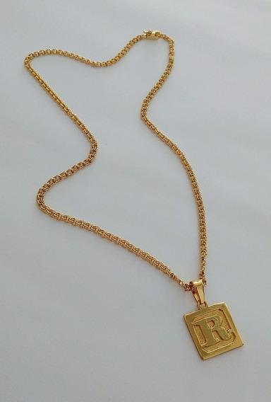 Cordão Frizinho 70cm 3mm + Placa Letra - Banhado A Ouro