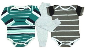 Kits 3 Peças Body + Calça Bebês 100% Algodão Menino