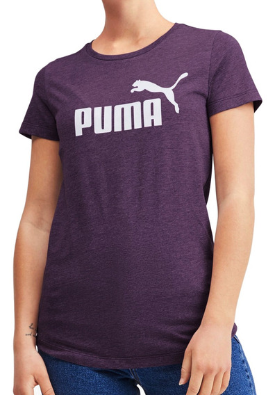 Remera Puma Moda Essential+ Logo Heather Mujer Vim