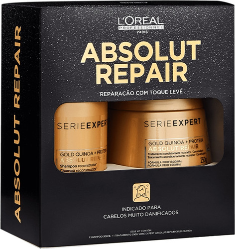 Imagem 1 de 2 de Kit Loreal Expert Shampoo & Másk Absolut Repair Gold Quinoa