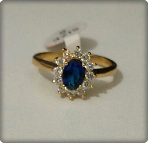 Anel De Formatura - Pedra Azul Safira - 18k