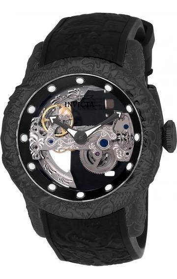 Relógio Invicta 26286 Preto Aço Skeleto Automático * Yakuza