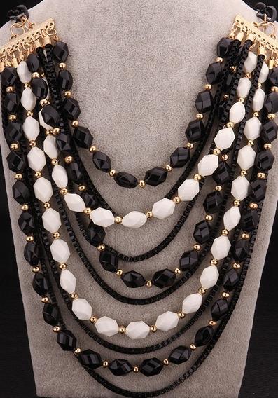 Luxuoso Maxxi Colar Preto Detalhes Dourados Corrente Fashion