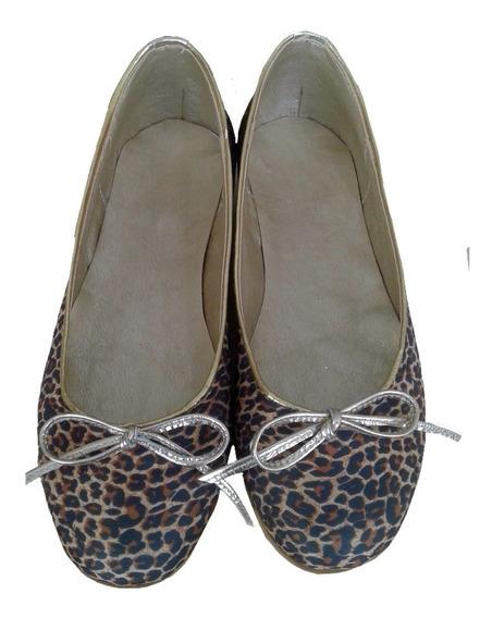Chatitas Ballerinas Zapatos Mujer Animal Print Con Dorado