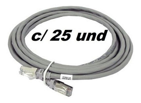Patch Cord Cinza 2.5m Cat6 - Kit Com 25 Unidades