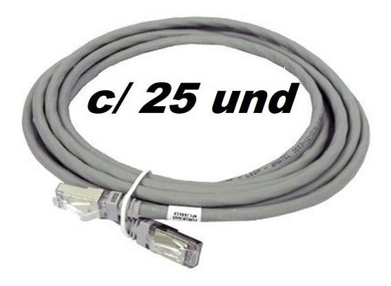 Patch Cord Cinza 2.5m Cat6 - Kit Com 25 Unidades