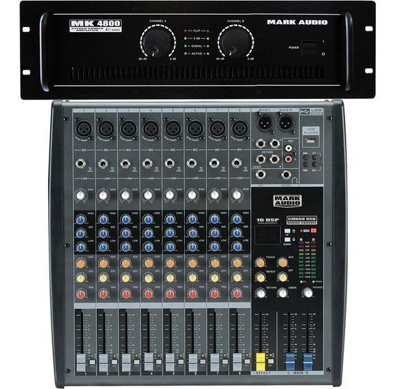 Kit Mark Audio Amplificador Mk4800 800w + Mesa Cmx 8 Canais