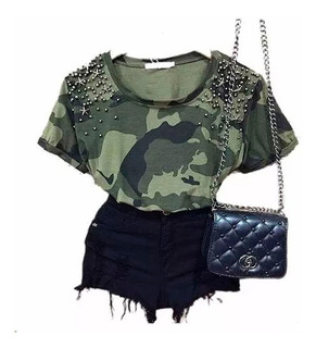 Blusinha Camisa Estampada Destroida Destroyd Tshirt Feminina