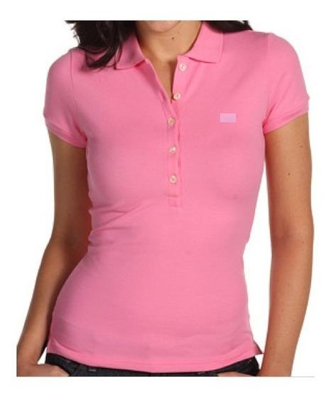 Camisa Polo Rosa Feminina Branca Lisa - P-m-g-gg
