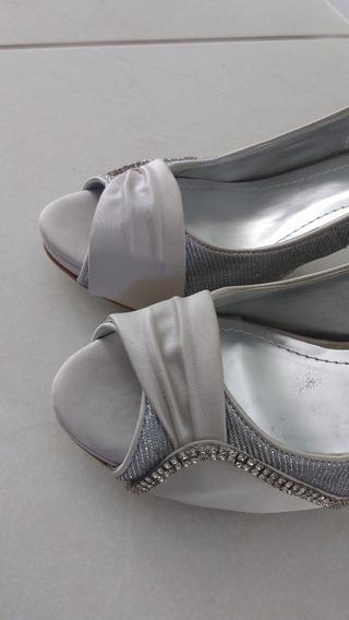 Sandália Peep Toe Prata Com Pedras Feita À Mão 37