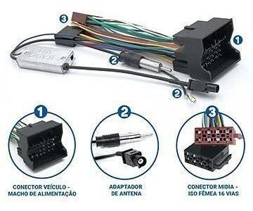 Kit Facil Chicote E Antena Vw Peugeot Audi Citroen Fac Vw001