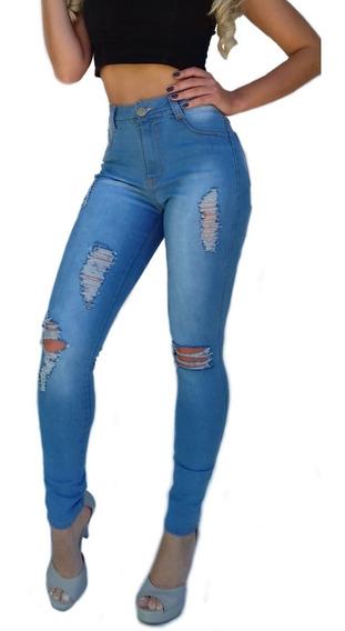 Roupas Feminina Calça Jeans Cintura Alta Rasgada Paris Dins
