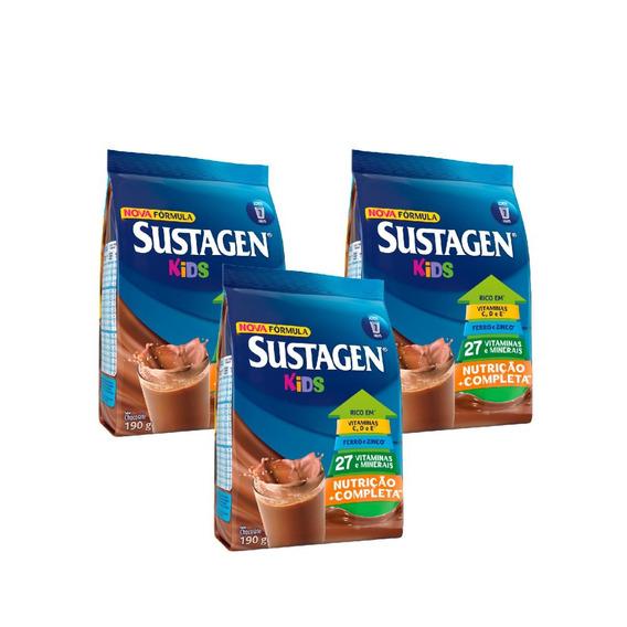 Sustagen Kids Nutrição Infantil Chocolate 190g - 3 Unid.