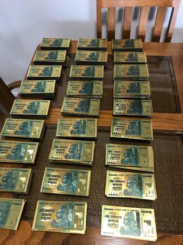 Billetes Zimbabwe De Oro (laminas) 100 Tri 24 K Coleccionabl
