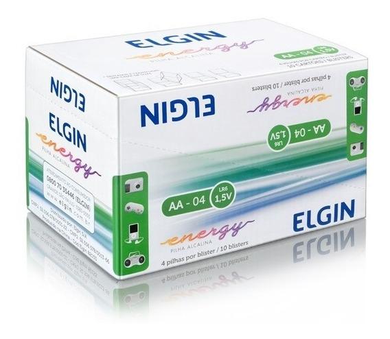 Kit 40 Bateria Pilha Aa Lr6 Alcalina Elgin