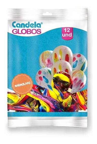 Globos 12 Marmolado Arco Iris Por 12 Unidades 1260 - Luico