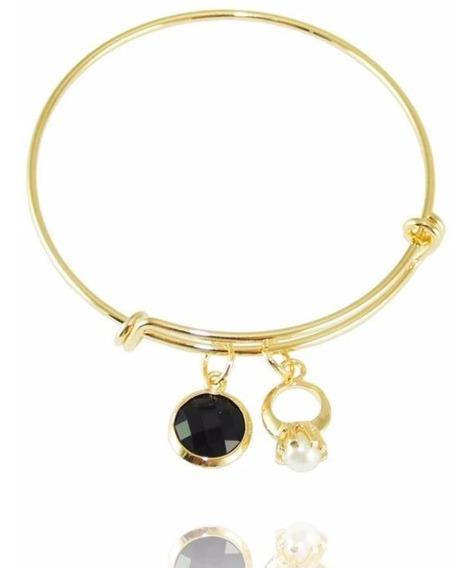 Bracelete Pulseira Ouro Com Charms Pedra Negra E Anel Perola