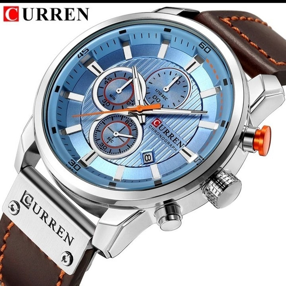 Relógio Masculino Curren Couro Oferta Funcional C.114