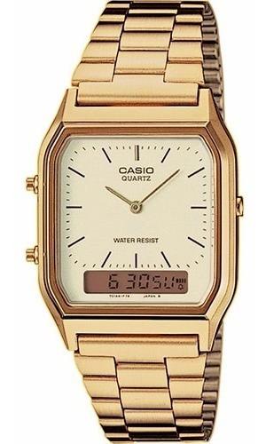 Relógio Casio Unissex Vintage Aq-230ga 9dmq Dourado Quadrado