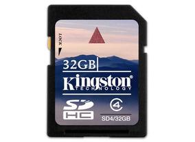 Cartão De Memória Kingston 32gb Sdhc Sd4/32gb Classe 4