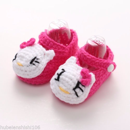 Sapato Menina Pink Flor Croche Lã Mod2