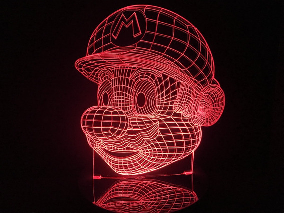 Super Mario Bros, Luminária Led 3d, Abajur,16 Cores+controle