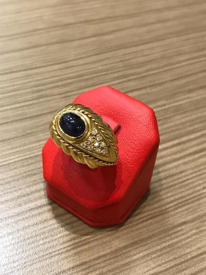 Anel Safira Com Brilhantes / Diamante Ouro 18k 750