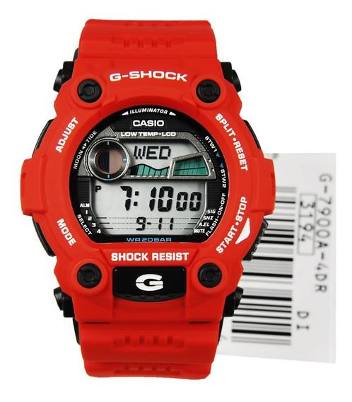 Relogio G-shock Digital G-7900a-4dr Vermelho Surf Maré