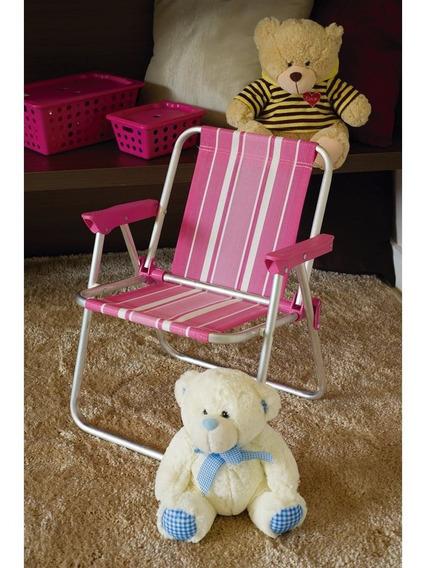 Kit 02 Cadeira De Praia Infantil Aluminio Rosa Azul Mor