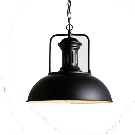 Pendente De Teto Industrial Metal Preto Design Retro Loft