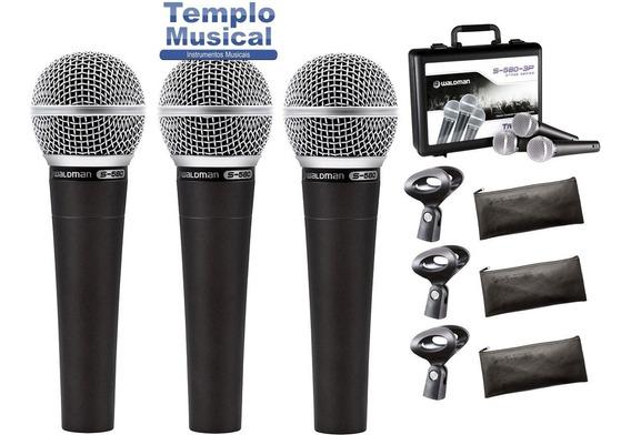 Kit Com 3 Microfone S 580 3p Waldman Com Case S-3pm