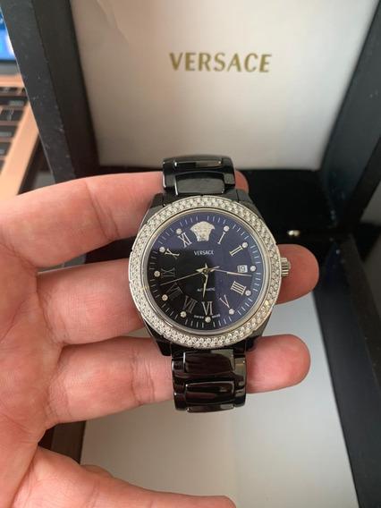 Reloj Cerámica Negra Diamantes Versace Original.