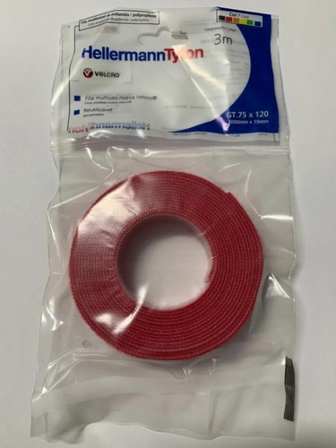 Abraçadeira Recuperável Em Velcro Gt.75x1202 Vermelho - 3mts