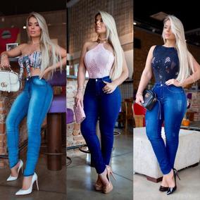 Kit 03 Calças Jeans Cintura Alta Levanta Bumbum Premium Luxo