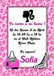 Barbie Tarjetas De Invitacion Cumpleanos En Mercado Libre